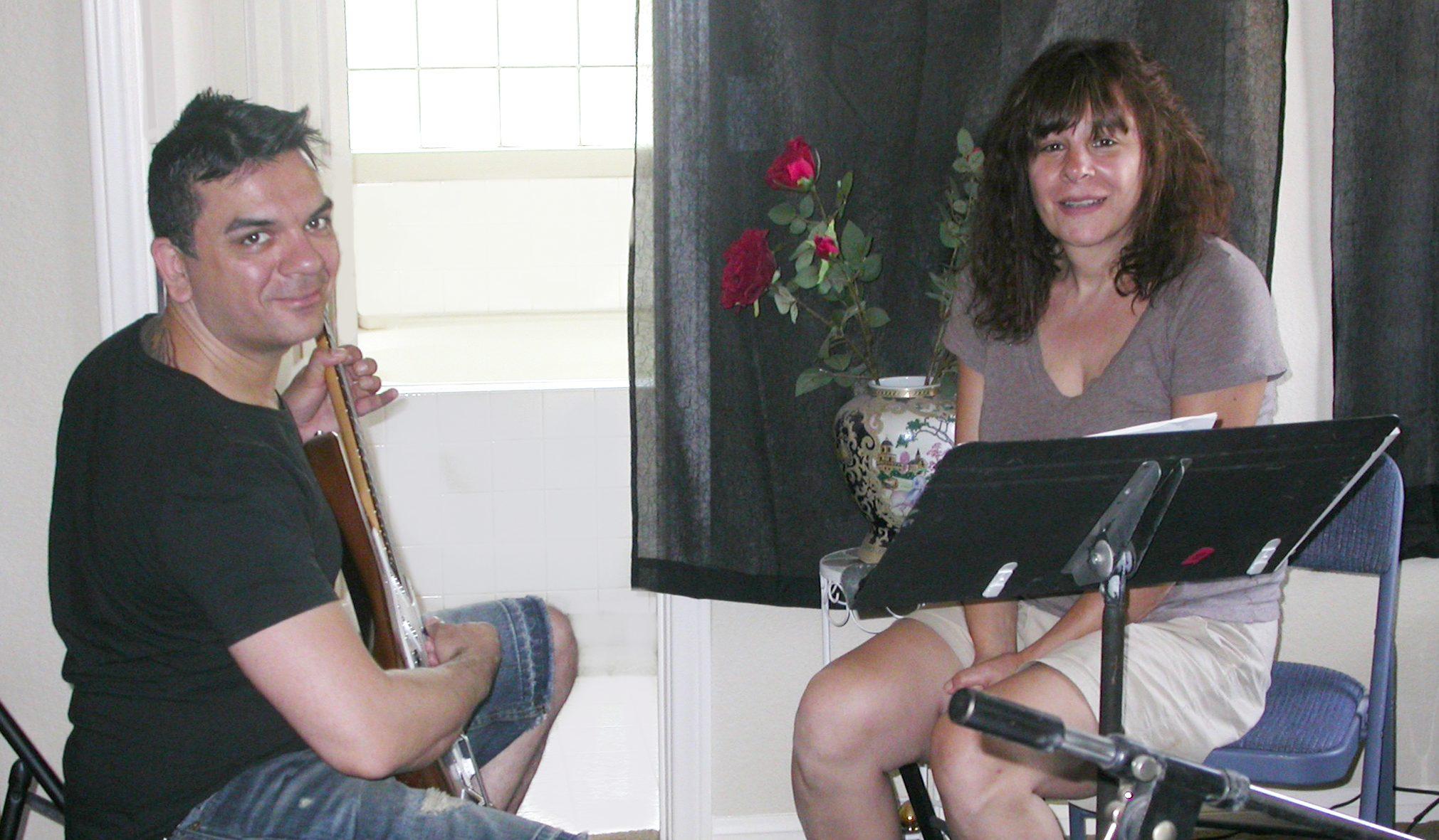 Jamie teaching guitar